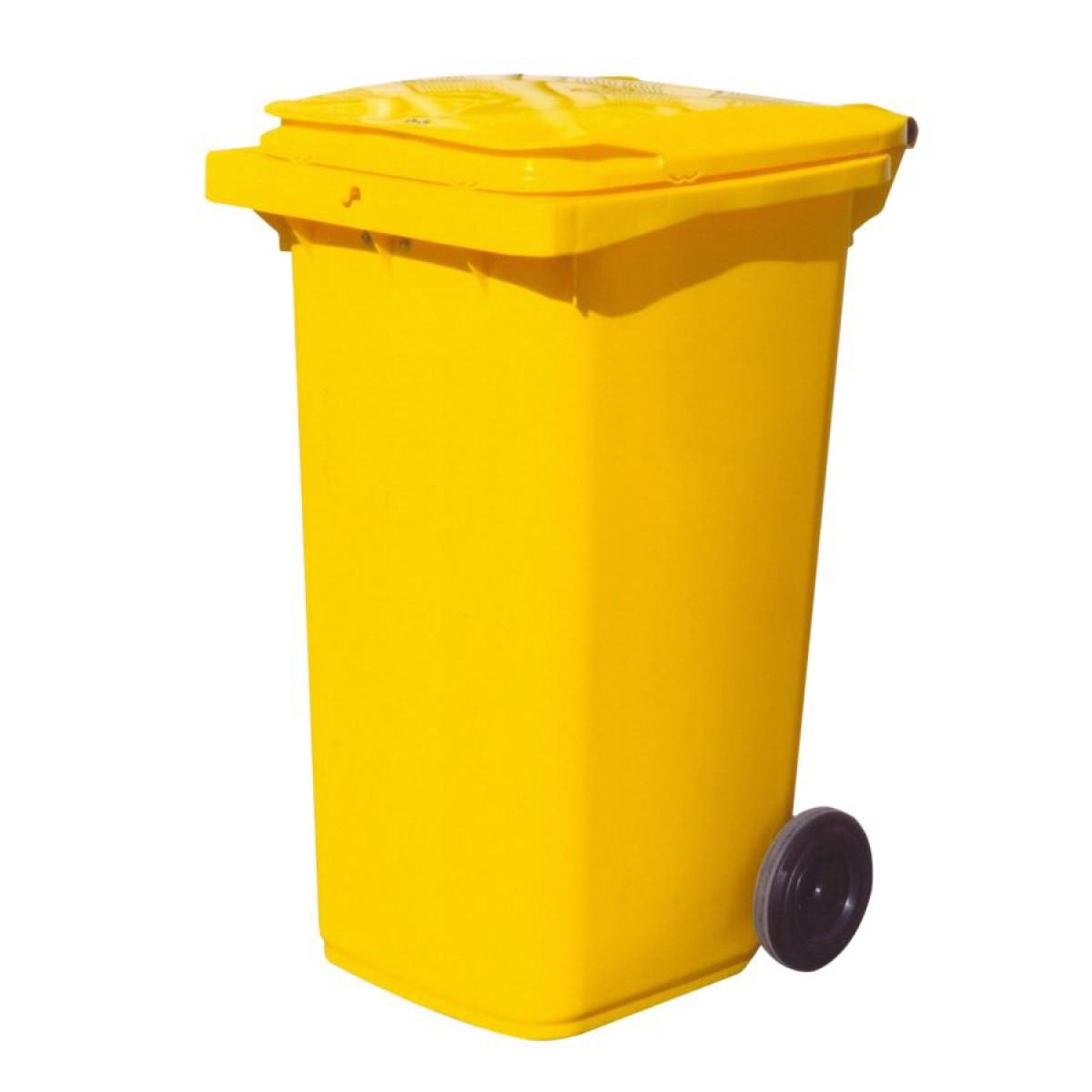 conteneur plastique jaune 2 roues 240 l hse center. Black Bedroom Furniture Sets. Home Design Ideas