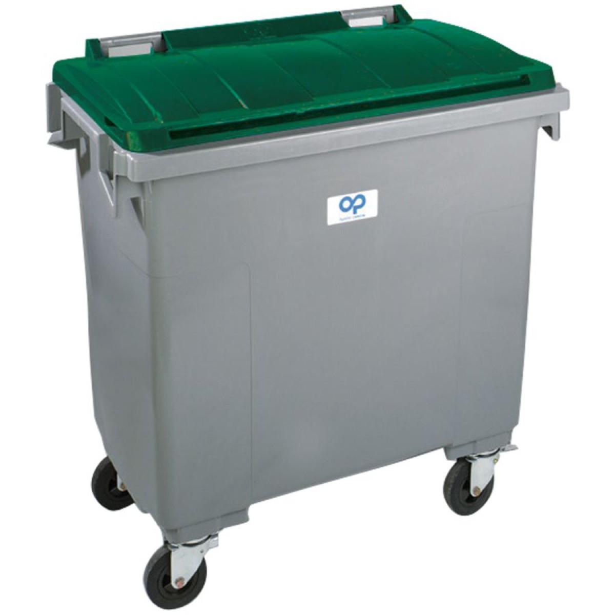 conteneur plastique gris vert 4 roues 770 l hse center. Black Bedroom Furniture Sets. Home Design Ideas