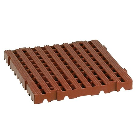 Dalles-caillebotis modulaires brunes, usage extrême