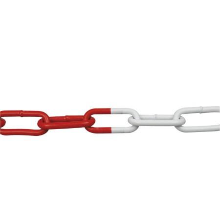 Chaîne de signalisation métal rouge/blanc 15m, 6mm