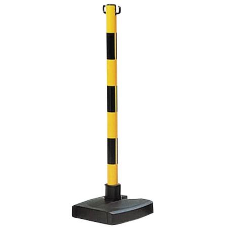 Poteau PVC jaune/noir pour chaîne, socle lesté rabattable