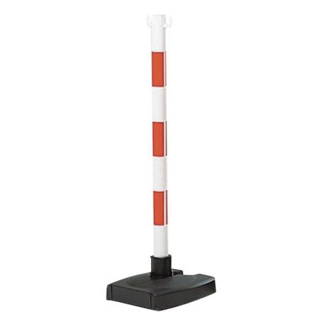 Poteau PVC blanc/rouge pour chaîne, socle lesté rabattable
