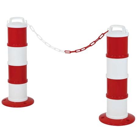 Lot 2 balises de signalisation modulable rouge/blanc +chaîne