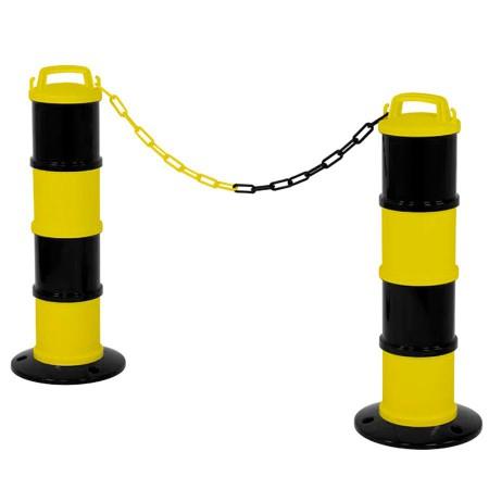 Lot 2 balises de signalisation modulable noir/jaune +chaîne