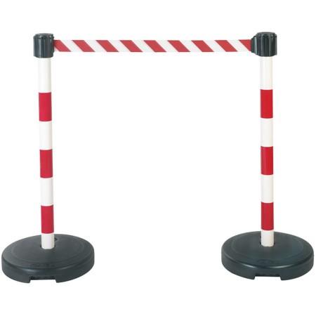 Kit 2 poteaux PVC sur socle à sangle étirable blanc/rouge