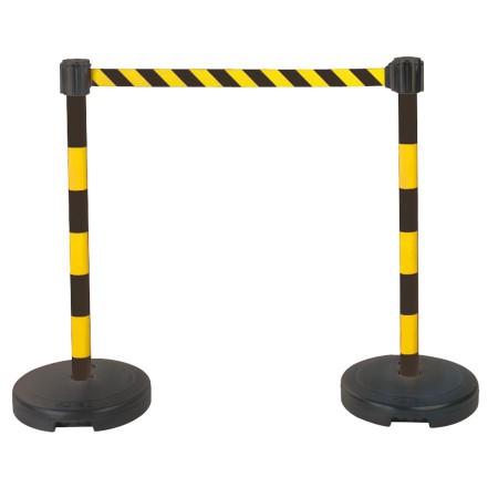 Kit 2 poteaux PVC sur socle à sangle étirable noir/jaune