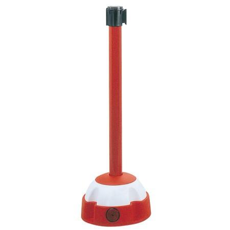 Poteau aluminium sur balise à sangle étirable blanc/rouge