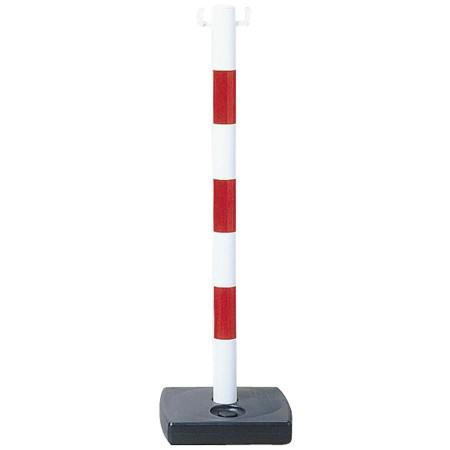 Kit 6 poteaux PVC rouge/blanc pour chaîne, socle à lester