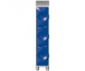 Vestiaire polyéthylène 1 étagère porte-cintres avec pieds, porte bleue