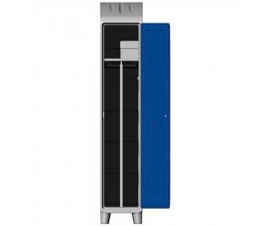 Vestiaire polyéthylène 1 étagère porte-cintres et 1 cloison avec pieds, porte bleue