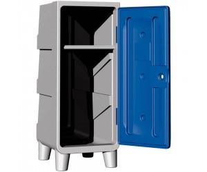 Demi-vestiaire polyéthylène 1 étagère porte-cintres avec pieds, porte bleue