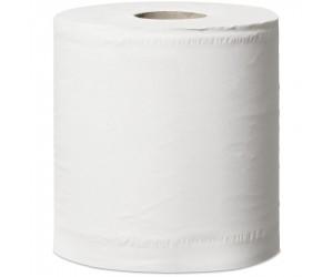 6 bobines d'essuyage blanches lisses avec mandrin, à dévidage central