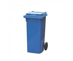 Conteneur plastique bleu 2 roues, 120 L