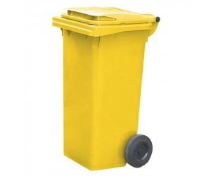 Conteneur plastique jaune 2 roues, 120 L