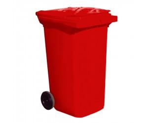 Conteneur plastique rouge 2 roues, 120 L