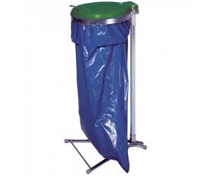 Support de sac sur pied avec couvercle plastique, 110 L