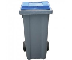 Conteneur plastique gris/bleu 2 roues, 240 L