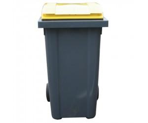Conteneur plastique gris/jaune 2 roues, 240 L