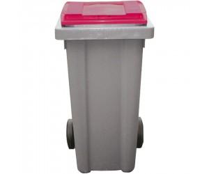 Conteneur plastique gris/rouge 2 roues, 240 L