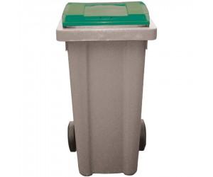 Conteneur plastique gris/vert 2 roues, 240 L