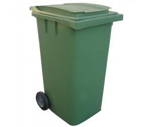 Conteneur plastique vert 2 roues, 340 L
