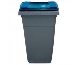 Conteneur plastique gris/bleu 2 roues, 340 L