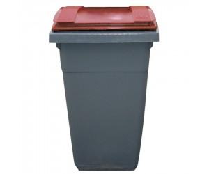 Conteneur plastique gris/rouge 2 roues, 340 L