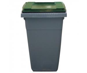 Conteneur plastique gris/vert 2 roues, 340 L