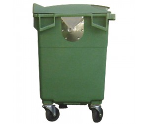 Conteneur plastique vert 4 roues, 500 L