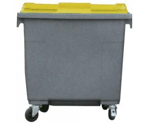 Conteneur plastique gris/jaune 4 roues, 660 L