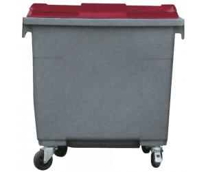 Conteneur plastique gris/rouge 4 roues, 660 L
