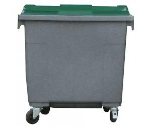 Conteneur plastique gris/vert 4 roues, 660 L
