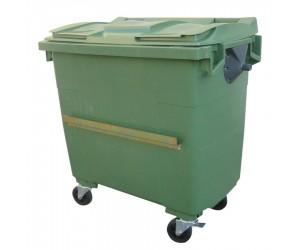 Conteneur plastique vert 4 roues, 1000 L