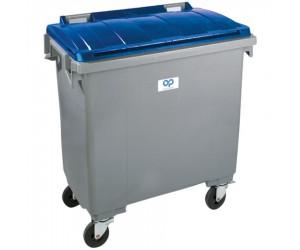 Conteneur plastique gris/bleu 4 roues, 1000 L