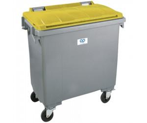 Conteneur plastique gris/jaune 4 roues, 770 L