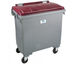 Conteneur plastique gris/rouge 4 roues, 770 L