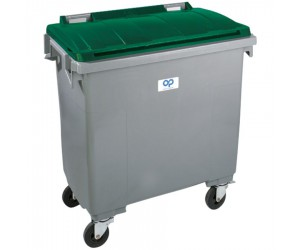 Conteneur plastique gris/vert 4 roues, 770 L