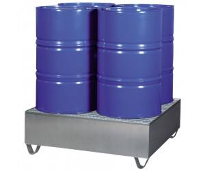 Bac de rétention acier finition galvanisée 4 fûts, 440 L, 50 %